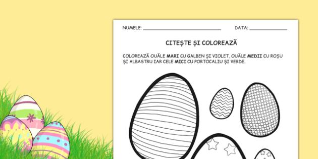 Ouă de Paște - Citește și colorează
