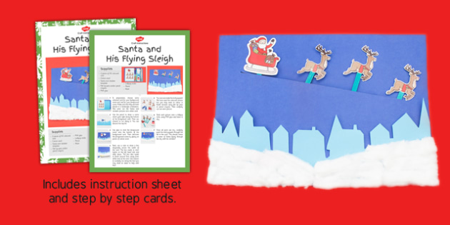 Santa And His Flying Sleigh Craft Instructions- stick, puppets, santa