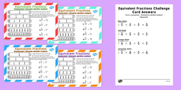 Equivalent Fractions Challenge Cards Polish Translation - polish, fraction, numeracy, maths