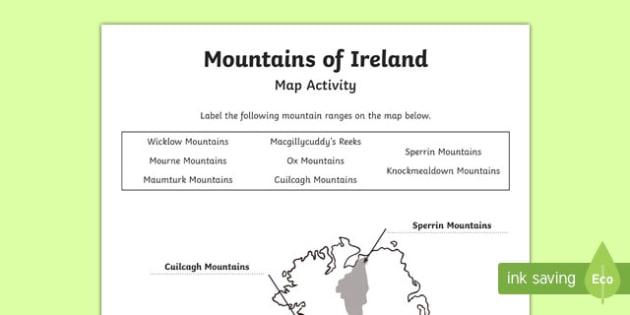 Map Of Ireland With Mountains.Mountains Of Ireland Map Worksheet Worksheet