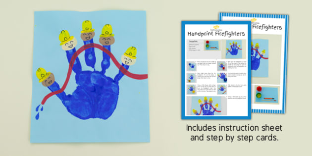 Handprint Firefighters Craft Instructions - handprint, firefighters, craft