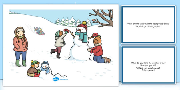 Winter Snowman Scene and Question Cards Arabic Translation - arabic, winter snowman, scene, question, cards