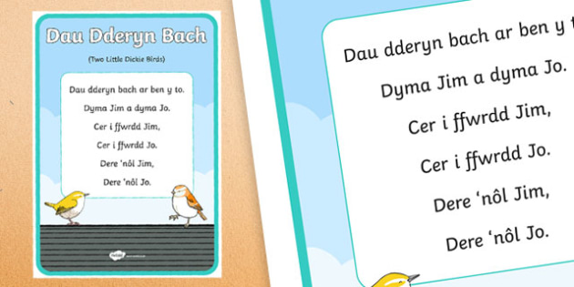 Two Little Dickie Birds Second Language  Song Lyrics-Welsh