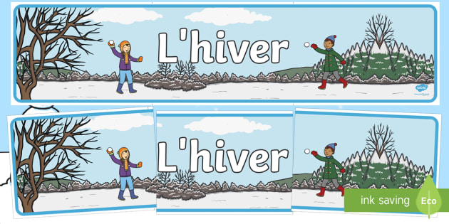 Banderole d'affichage : L'hiver - Hiver, winter, banderole, affichage, display, banner, panneau, French