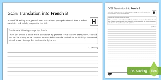 GCSE French Translation into French 8 Higher Tier Activity Sheet-French