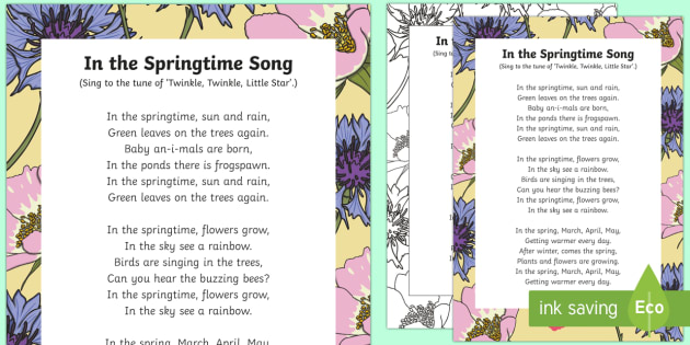 In The Springtime Song Eyfs Early Years Key Stage 1 Ks1 Spring