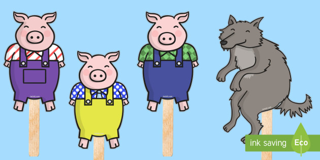 The 3 little pigs stick puppets 3 little pigs stick puppets for The three little pigs puppet templates