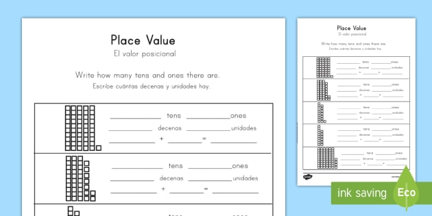 Place Value Worksheet / Activity Sheet US English/Spanish