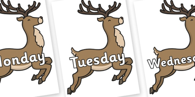 Days of the Week on Reindeer - Days of the Week, Weeks poster, week, display, poster, frieze, Days, Day, Monday, Tuesday, Wednesday, Thursday, Friday, Saturday, Sunday