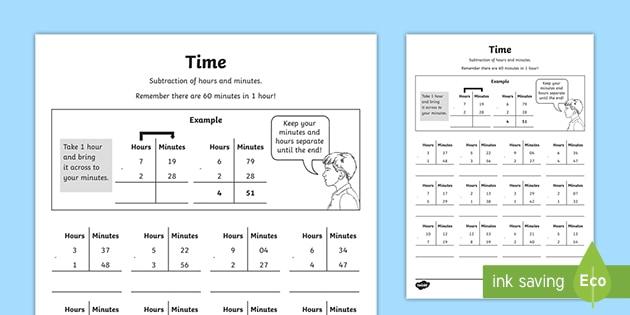 Subtracting Time Worksheet (teacher Made)