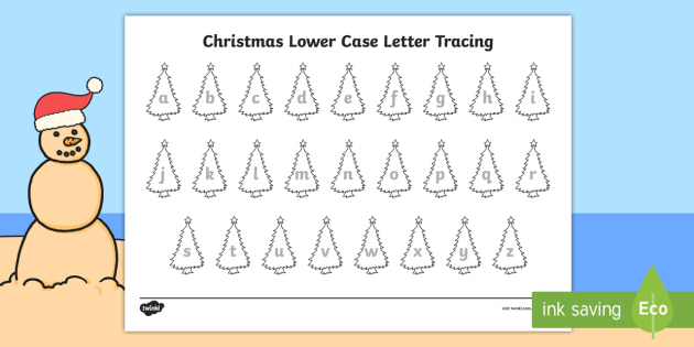 Christmas Trees Lowercase Letter Tracing Worksheets