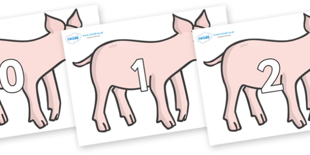 Numbers 0-50 on Piglets - 0-50, foundation stage numeracy, Number recognition, Number flashcards, counting, number frieze, Display numbers, number posters