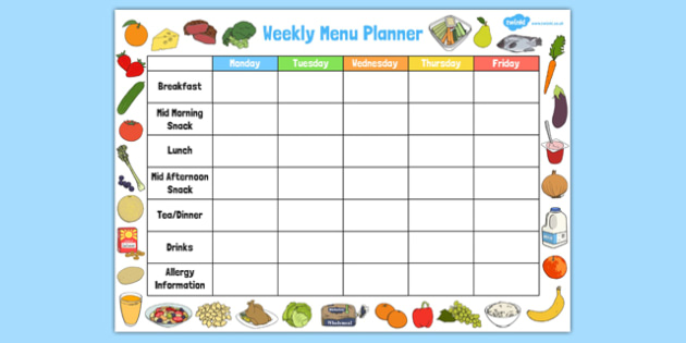 Weekly Menu Planner  Childminder Menu Planner