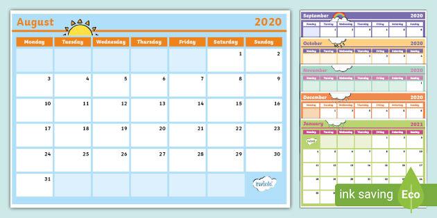 Und Academic Calendar 2022.2020 2021 Interactive Year Planner Primary Resources
