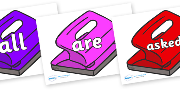 Tricky Words on Hole Punch - Tricky words, DfES Letters and Sounds, Letters and sounds, display, words