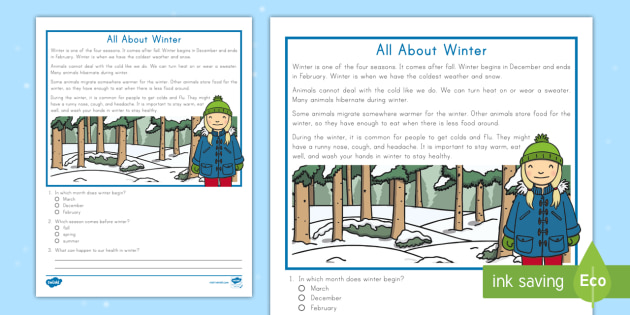 Second Grade All About Winter Reading Passage Comprehension Activity
