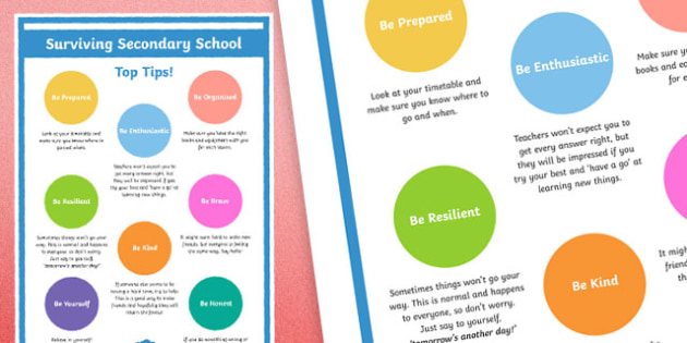 Top Tips for Surviving Secondary School - Year 6 Transition to Year 7