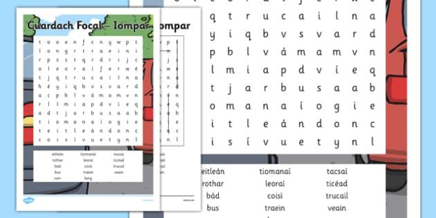 Iompar Word Search Gaeilge - shopping, pack, shopping, town, transport, siopadóireacht
