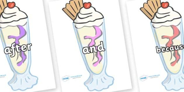 Connectives on Ice Cream Sundaes - Connectives, VCOP, connective resources, connectives display words, connective displays