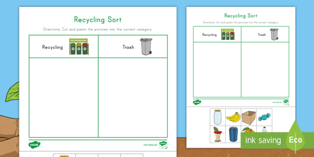 Recycling Sorting Worksheet - Earth Day Resource - Twinkl