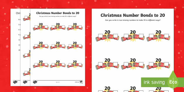 Christmas Themed Number Bonds to 20 Worksheet / Activity Sheet