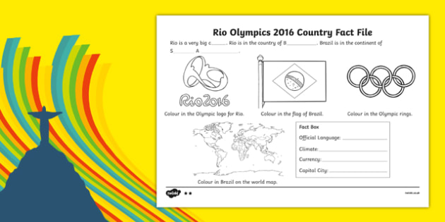 Rio Olympics 2016 SEN Differentiated Fact File Activity Sheet Pack, worksheet