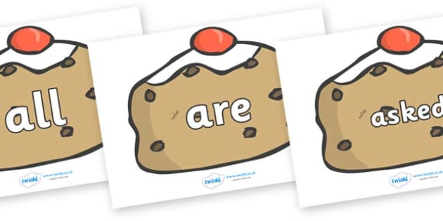 Tricky Words on Buns - Tricky words, DfES Letters and Sounds, Letters and sounds, display, words