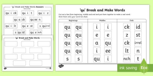 'qu' Sound Break and Make Worksheet