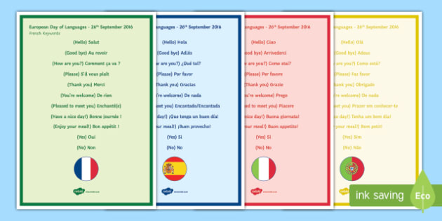 Keywords from Different Countries Display Posters-French