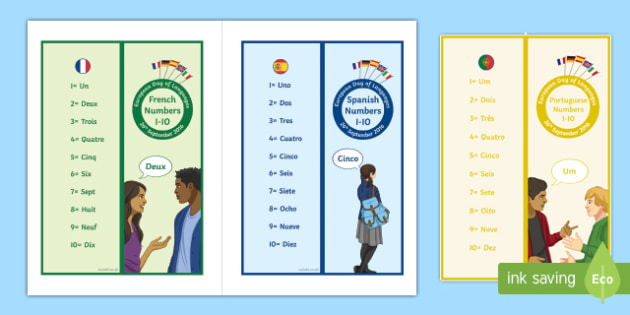 Numbers 1-10 in Different Languages Bookmarks-French