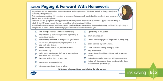 Pay it forward homework assignment