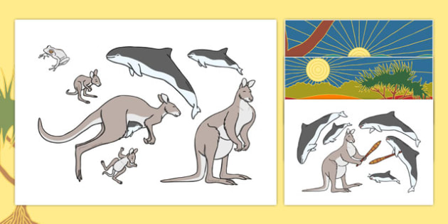 The Kangaroo and the Porpoise Stick Puppets - australia, australian, kangaroo, porpoise, dreamtime, story, traditional, acting, retell, retelling, puppet, play, role play, role, play, roleplay