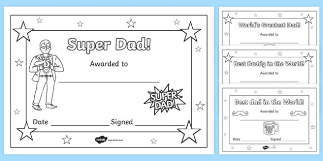 Father's day colouring certificates - father, Father's day, awards