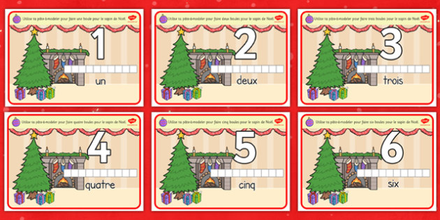 Christmas Counting Activity Playdough Mats French - french, christmas, counting, activity, playdough mats