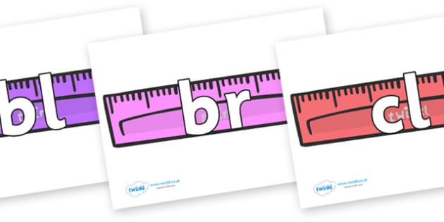 Initial Letter Blends on Rulers - Initial Letters, initial letter, letter blend, letter blends, consonant, consonants, digraph, trigraph, literacy, alphabet, letters, foundation stage literacy