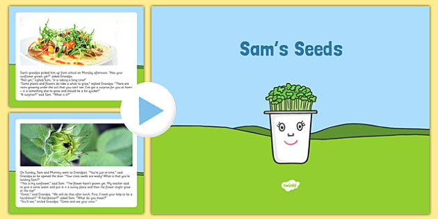 Sam's Seeds Story PowerPoint - EYFS, Early years, plants and growth, growing, life cycles, Understanding the world