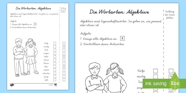 Wortarten: Adjektive Test - Sommer, Deutsch, Grammatik