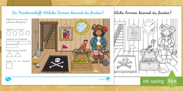 NEW * Im Piratenschiff: Formen finden Arbeitsblatt - Formen