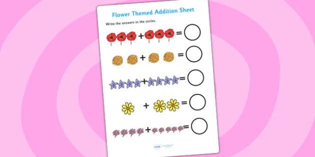 Flower Themed Addition Sheet - flower, addition sheet, addition, worksheets, maths, numeracy, themed addition sheet, adding, add, plus, addition sheet