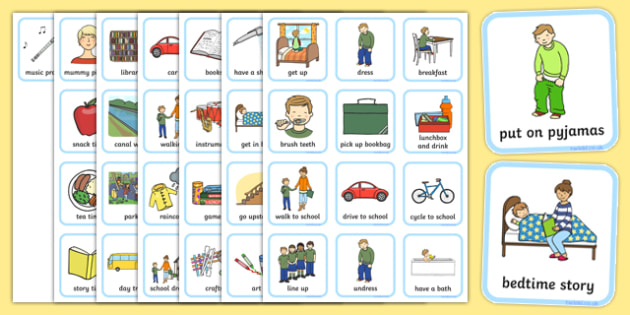Daily Routine Visual Timetable For Boys  Daily Routine Visual