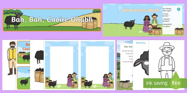 Bah, Bah, Black Sheep Resource Pack Gaeilge - Bah, Bah, Caoire Dhubh, Ar an bhFeirm, gaeilge, Irish, farm, feirm, farming, Baa Baa Black Sheep, ba