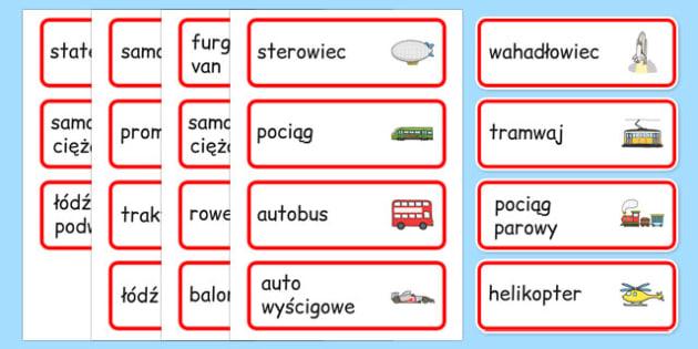 Karty Ze Słownictwem Transport Po Polsku Teacher Made