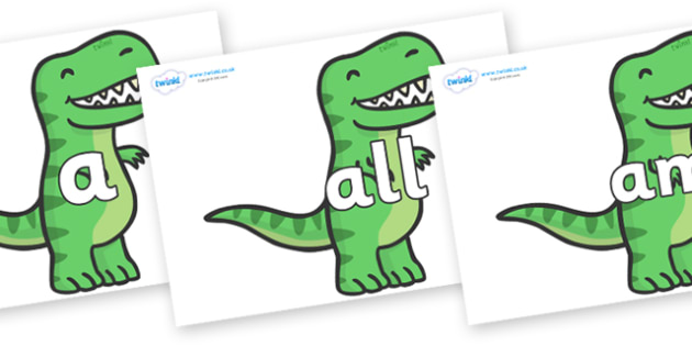 Foundation Stage 2 Keywords on T Rex Dinosaurs - FS2, CLL, keywords, Communication language and literacy,  Display, Key words, high frequency words, foundation stage literacy, DfES Letters and Sounds, Letters and Sounds, spelling