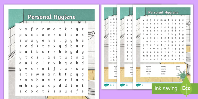 Personal Hygiene Word Search - healthy, hygiene, word search