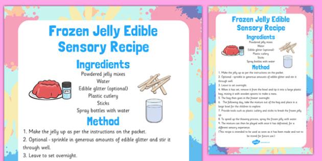 Frozen Jelly Edible Sensory Recipe - frozen, jelly, edible, sensory, recipe
