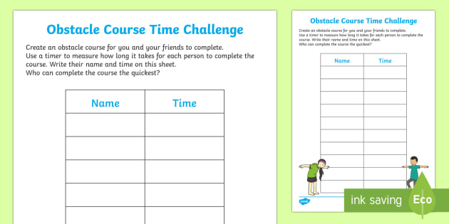 obstacle course time challenge record sheet worksheet worksheet eyfs. Black Bedroom Furniture Sets. Home Design Ideas