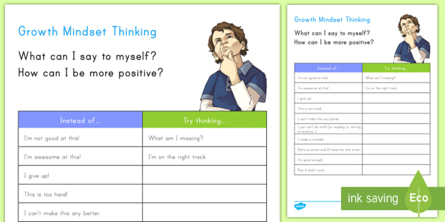 Growth Mindset Worksheet Worksheet Positive Negative Growth