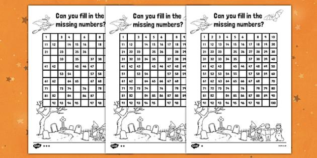 Halloween Missing Numbers Number Square - Halloween, Numbers