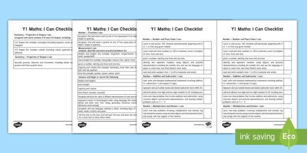 Year 1 Maths Checklist Assessment Sheet - Year 1 Maths Assessment I Can