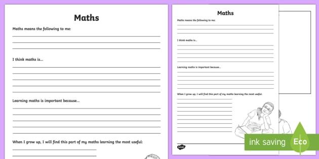 Maths Reflection Writing Template